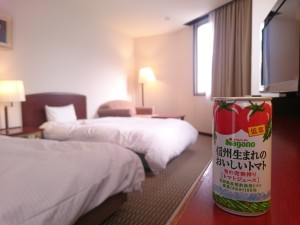 ホテル飯田屋では、おいしいトマトージュースを差し上げています♪